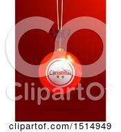 Clipart Of A Suspended 3d Merry Christmas Bingo Or Lottery Ball Over Red Royalty Free Vector Illustration