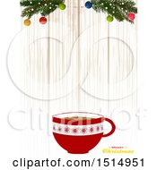 Merry Christmas Greeting With A Coffee Cup Over Wood With Branches