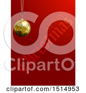Clipart Of A 3d Suspended Gold Disco Ball Ornament Over Red With Merry Christmas Text Royalty Free Vector Illustration