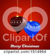 Clipart Of A Merry Christmas Greeting With 3d Heart Ornaments On Red Royalty Free Vector Illustration