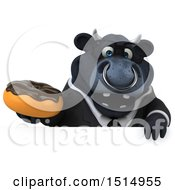 3d Black Business Bull Holding A Donut On A White Background
