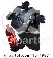 3d Black Business Bull Holding A Soda On A White Background