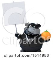 3d Black Business Bull Holding An Orange On A White Background