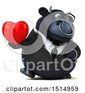 3d Black Business Bull Holding A Heart On A White Background