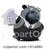 3d Black Business Bull Holding A House On A White Background