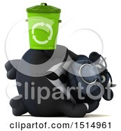 3d Black Business Bull Holding A Recycle Bin On A White Background