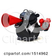 3d Black Business Bull Holding An Alarm Clock On A White Background