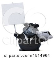 3d Black Business Bull Holding A Plane On A White Background