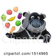 3d Black Business Bull Holding Produce On A White Background