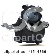 3d Black Business Bull Holding A Wrench On A White Background