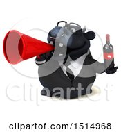 3d Black Business Bull Holding Wine On A White Background