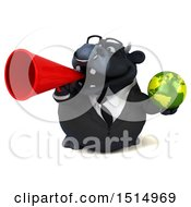 3d Black Business Bull Holding A Globe On A White Background