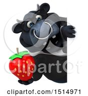 3d Black Business Bull Holding A Strawberry On A White Background