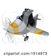 3d Black Bull Flying A Plane On A White Background