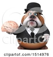 Clipart Of A 3d Gentleman Or Business Bulldog Holding A Brain On A White Background Royalty Free Illustration