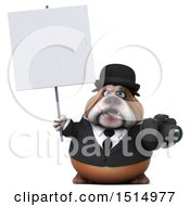 3d Gentleman Or Business Bulldog Holding A Camera On A White Background