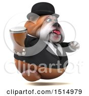 3d Gentleman Or Business Bulldog Holding A Beer On A White Background
