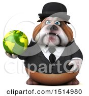 3d Gentleman Or Business Bulldog Holding A Globe On A White Background