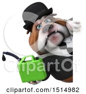 3d Gentleman Or Business Bulldog Holding A Gas Can On A White Background