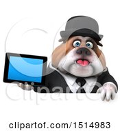 3d Gentleman Or Business Bulldog Holding A Tablet On A White Background
