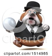 3d Gentleman Or Business Bulldog Holding A Golf Ball On A White Background