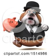 Clipart Of A 3d Gentleman Or Business Bulldog Holding A Piggy Bank On A White Background Royalty Free Illustration
