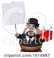 3d Gentleman Or Business Bulldog Holding A Gift On A White Background