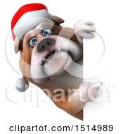 3d Christmas Bulldog On A White Background