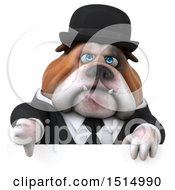 3d Gentleman Or Business Bulldog Holding A Thumb Down On A White Background