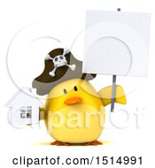 3d Yellow Bird Pirate Holding A House On A White Background