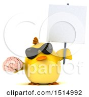 3d Yellow Bird Holding A Brain On A White Background