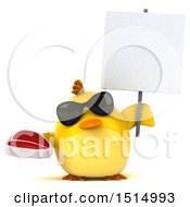 3d Yellow Bird Holding A Steak On A White Background