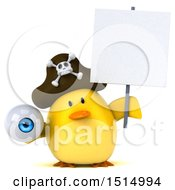 3d Yellow Bird Pirate Holding An Eye On A White Background