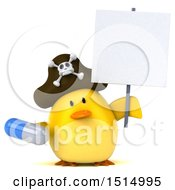 3d Yellow Bird Pirate Holding A Pill On A White Background