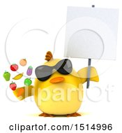 3d Yellow Bird Holding Produce On A White Background