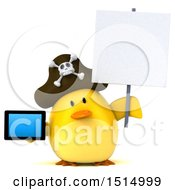 3d Yellow Bird Pirate Holding A Tablet On A White Background