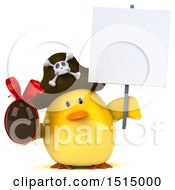 3d Yellow Bird Pirate Holding A Chocolate Egg On A White Background