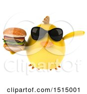 3d Yellow Bird Holding A Burger On A White Background