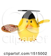 3d Yellow Bird Graduate Holding A Pizza On A White Background
