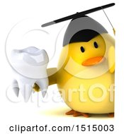 3d Yellow Bird Graduate Holding A Tooth On A White Background