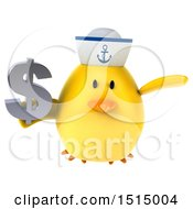 3d Yellow Bird Sailor Holding A Dollar Sign On A White Background
