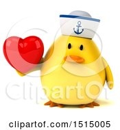 3d Yellow Bird Sailor Holding A  On A White Background