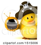 3d Yellow Bird Pirate Holding A Tv On A White Background