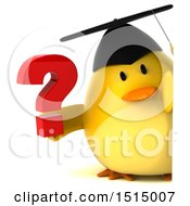 3d Yellow Bird Graduate Holding A Question Mark On A White Background