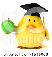 3d Yellow Bird Graduate Holding A Green Apple On A White Background