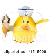 3d Yellow Bird Sailor Holding A Waffle Cone On A White Background