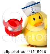 3d Yellow Bird Sailor Holding A Devil On A White Background