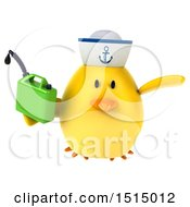 3d Yellow Bird Sailor Holding A Gas Can On A White Background