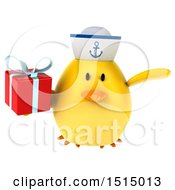 3d Yellow Bird Sailor Holding A Gift On A White Background