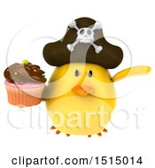 3d Yellow Bird Pirate Holding A Cupcake On A White Background